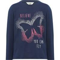 Girls cotton rich navy long sleeve crew neck glitter butterfly slogan print t-shirt  - Navy