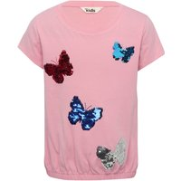 Girls 100% cotton pink short sleeve two way sequin butterfly design bubble hem t-shirt  - Pink