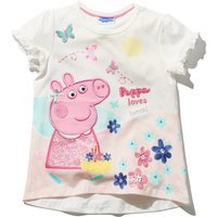Peppa Pig girls 100% cotton short sleeve white character applique butterfly slogan print t-shirt  -