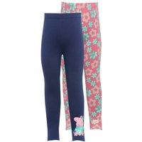 Peppa Pig cotton rich navy and floral print stretch waistband full length leggings two pack  - Pink