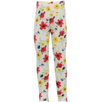 Girls cotton stretch white floral print stretch waistband full length leggings  - White
