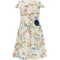 Girls cotton white floral print short cold shoulder sleeves blue flower corsage prom dress  - White