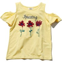 Girls yellow short frill sleeve cold shoulder red sequin flower slogan print t-shirt  - Yellow