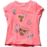 Girls cotton blend short sleeve pink crew neck gold glitter butterfly print t-shirt  - Pink