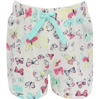 Girls 100% cotton white multi-coloured pink Blue butterfly print stretch waistband shorts  - White