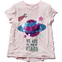 Kite and Cosmic girls short sleeve two way sequin planet star slogan print t-shirt  - Pink