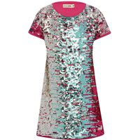 Kite and Cosmic girls short sleeve crew neck two way sequin shift dress  - Multicolour