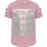 Girls 100% cotton pink cut out short sleeve silver foil girls are the future slogan t-shirt  - Pink