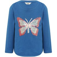 Girls blue long sleeve cotton crew neck two way sequin butterfly t-shirt  - Blue