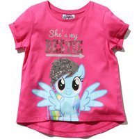 Kids Girls short sleeve round neck dipped hem My Little Pony two way sequin t-shirt  - Pink