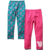 Peppa Pig girls plain pink character print turquoise floral print full length leggings two pack  - P