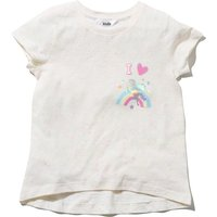Girls cream cotton blend neon neppy texture metallic I love unicorns rainbow print t-shirt  - Cream