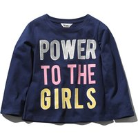 Kids Girls Navy Long Sleeve Cotton Crew Neck power to the girls slogan glitter detail casual top  -