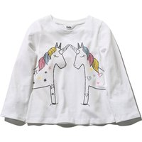 Kids Girls White Long Sleeve Soft Cotton Crew Neckline Unicorn Print Everyday casual top  - White