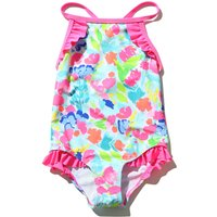 Kids Girls swimwear pink High neckline multicolour floral print cross back strap frill trim swimsuit