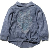 Girls navy marl long sleeve hooded embellished owl knot front knitted hoody  - Navy