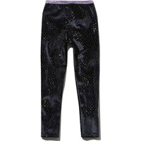 Kids Girls full length glitter stretch waistband rainbow spot print velour leggings  - Navy