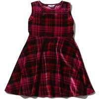 Girls Sleeveless Red Velour Check Print Diamante Embellished Shoulders Party Skater Dress - Red