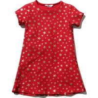 Kids Girls Red Short Sleeve Crew Neck Gold Star Print Tunic Party Dress - Red