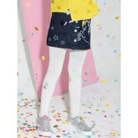 Kids Girls unicorn denim skirt with silver mebroidery and button front  - Denim