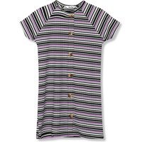 Kids Girls ribbed button front stripe dress  - Lilac