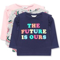 Kids Girls slogan rainbow t-shirts three pack  - Navy