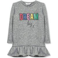 Kids Girls slogan frill jumper  - Grey