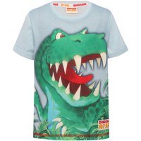 Dinosaur roar boys light blue pure cotton short sleeve character print t-shirt  - Light Blue