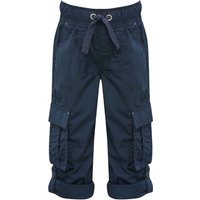 Boys classic neutral shade tie waistband with pockets and turn up hem unlined poplin trousers  - Nav