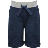 Boys 100% cotton grey marl drawstring elasticated waist pocket detail turn up hem shorts  - Navy