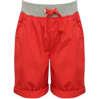 Boys 100% cotton grey marl drawstring elasticated waist pocket detail turn up hem shorts  - Red