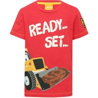 JCB boys cotton short sleeve crew neck character ready set lets get digging slogan t-shirt  - Red