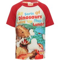 Dinosaur Roar cotton rich red & cream short sleeve raglan character slogan print t-shirt  - Red