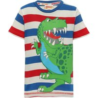 Dinosaur Roar 100% cotton blue red and white stripe Tyrannosaurus Rex character print tshirt  - Blue