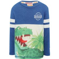 Dinosaur Roar cotton blend blue long sleeve Tyrannosaurus Rex character print stripe t-shirt  - Blue