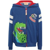 Boys Long Sleeve Blue Dinosaur Roar t-rex Character Print Zip Front Hooded Casual Sweater  - Blue