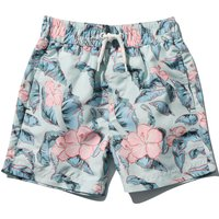 Boys lightweight hibiscus floral print elasticated drawstring waistband pocket lined swim shorts  -