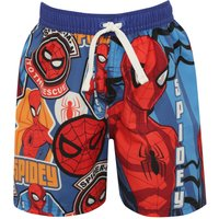 Boys swimwear spiderman character print elasticated tie waistband summer swimming shorts  - Blue