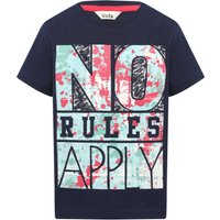 Boys 100% cotton navy short sleeve crew neck no rules apply slogan print t-shirt  - Navy