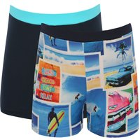 Boys surf photo print and plain navy stretch waistband swimming short trunks two pack  - Navy