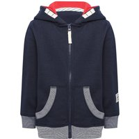 Boys cotton blend long sleeve zip fastening front pocket lined hooded sweater  - Navy