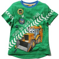 Boys JCB character this is how I roll slogan short sleeve crew neck casual t-shirt G - Green