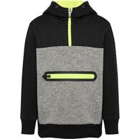 Minoti boys cotton blend long sleeve grey black lime zip front hooded sweater  - Grey