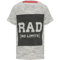 Boys cotton rich grey marl black mesh print front Rad slogan short sleeve t-shirt  - Grey