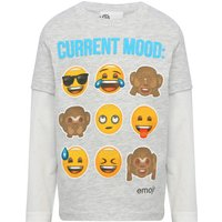 Emoji boys cotton rich grey marl long mock layer sleeve Emoji current mood slogan print t-shirt  - G