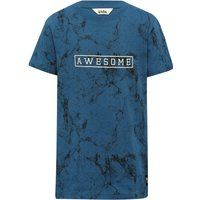 Boys cotton blue short sleeve crew neck awesome slogan marble effect print t-shirt  - Blue