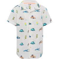 Boys short sleeve classic collar button front car and plane print shirt  - White