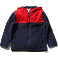Baby Boy Red And Navy Colour Block Design Zip Front Hooded Pockets Fleece - Navy