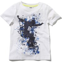 Boys cotton white short sleeve crew neck blue splatter skater print t-shirt  - White
