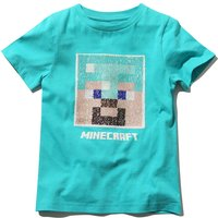 Minecraft boys cotton turquoise short sleeve crew neck two way sequin gamer design t-shirt  - Turquoise